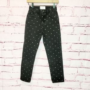 NWT Current/Elliot High Rise Polka Dot Crop Jeans